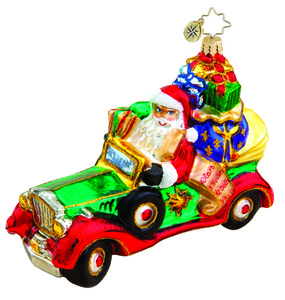 RADKO 1015530 CHRISTMAS CRUISER - SANTA - CONVERTIBLE - GIFTS ORNAMENT - NEW 2011 (11-6)