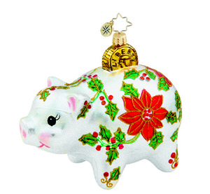 RADKO 1015714 SAVIN' FOR THE HOLIDAYS - FLOWERED PIGGY BANK ORNAMENT - NEW 2011 (11-6)