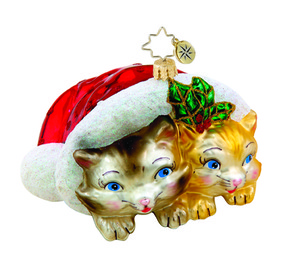 RADKO 1015419 KITTY KUDDLE - 2 CATS IN SANTA'S CAP ORNAMENT - NEW 2011 (11-6)