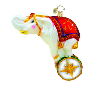 RADKO 1015706 BALANCING ACT - ELEPHANT ON DRUM ORNAMENT - NEW 2011 (11-4)