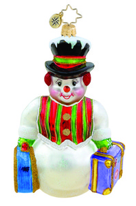 RADKO 1015652 PACKED AND READY TO GO - SNOWMAN WITH SUIT CASES ORNAMENT - NEW 2011 (11-8)