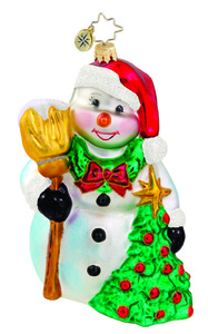 RADKO 1015758 FRONT YARD FRIEND - SNOWMAN WITH TREE AND WREATH ORNAMENT - NEW 2011 (11-8)