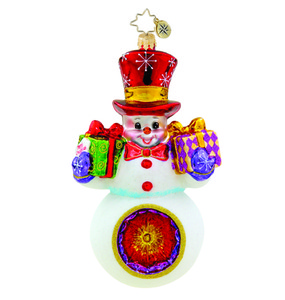 RADKO 1015575 GIFTS FOR TWO - SNOWMAN WITH REFLECTOR AND GIFTS ORNAMENT - NEW 2011 (11-8)