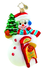 RADKO 1015574 SNOWDAY SPLENDOR - SNOWMAN WITH SLED AND TREE ORNAMENT - NEW 2011 (11-8)