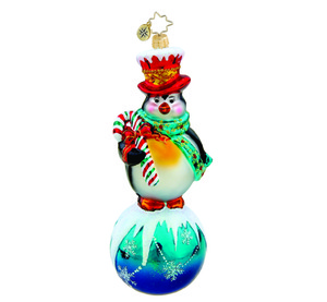 RADKO 1015451 TIP TOP POSE - PENGUIN ON BALL ORNAMENT - NEW 2011 (11-3)