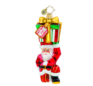 RADKO 1015693 DON'T OPEN UNTIL CHRISTMAS - SANTA HOLDING GIFT ORNAMENT - NEW 2011 (11-9)