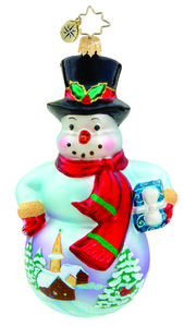 RADKO 1015725 COUNTRY SCENE CHAP - SNOWMAN WITH PAINTED SCENE ORNAMENT - NEW 2011 (11-7)