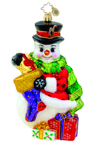 RADKO 1015560 FROST OFFERING - SNOWMAN WITH STOCKING & GIFTS ORNAMENT - NEW 2011 (11-7)