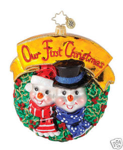 RADKO 1014962 FROSTY FIRST - SNOWMAN COUPLE - OUR FIRST CHRISTMAS - NOT DATED - RETIRED ORNAMENT (Q2)