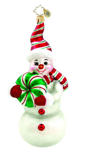 RADKO 1015773 PEPPERMINT PAL - SNOWMAN WITH CANDY ORNAMENT - NEW 2011 (11-8)