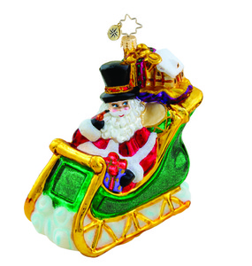 RADKO 1015521 THAMES STREET SLEIGH RIDE - SANTA IN SLEIGH ORNAMENT - NEW 2011 (11-8)