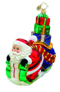RADKO 1015729 DOWNHILL RUSH - SANTA ON SLED ORNAMENT - NEW 2011 (11-8)