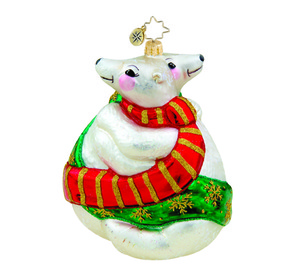 RADKO 1015695 POLAR PALS - 2 HUGGING POLAR BEARS ORNAMENT - NEW 2011 (11-9)