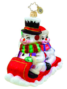 RADKO 1015532 DOWN THE HILL WE GO - SLEDDING SNOWMEN ORNAMENT - NEW 2011 (11-9)