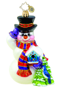 RADKO 1015562 SEASONAL FRIENDS - SNOWMAN WITH BLUE JAY ORNAMENT - NEW 2011 (11-10)
