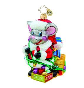 RADKO 1015525 TANGLED TIDINGS MOUSE - CHRISTMAS MOUSE IN LIGHTS ORNAMENT - NEW 2011 (11-10)