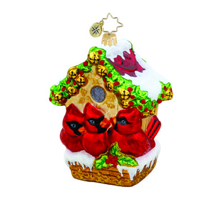 RADKO 1015463 JINGLE BELL HIDEAWAY - CARDINALS WITH BIRD HOUSE ORNAMENT - NEW 2011 (11-10)