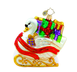 RADKO 1015447 SWAN SLEIGH - SLEIGH WITH GIFTS ORNAMENT - NEW 2011 (11-13)