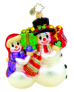 RADKO 1015528 SO HAPPY TOGETHER - SNOWMAN & SNOWGIRL COUPLE ORNAMENT - NEW 2011 (11-9)