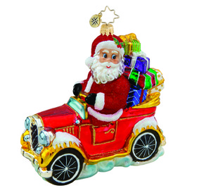 RADKO 1015745 STEADY AS YOU GO - SANTA IN CAR WITH GIFTS ORNAMENT - NEW 2011 (11-10)
