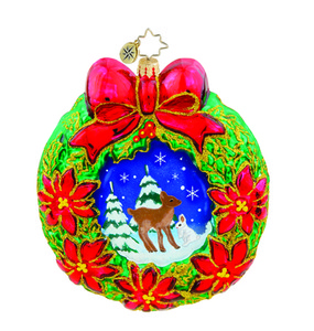 RADKO 1015697 WINTERTIME FRIENDS - WREATH ORNAMENT NEW 2011 (11-11)