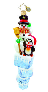 RADKO 1015596 - ICE CUBE COMPANIONS - SNOWMAN AND PENGUIN ORNAMENT - NEW 2011 (11-10)