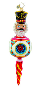 RADKO 1015622 GUARDED RESPLENDENCE - NUTCRACKER ON BALL ORNAMENT - NEW 2011 (11-11)