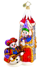 RADKO 1015688 SNOWY SERENADE - SNOWMAN SERENADING SNOWGIRL IN CASTLE ORNAMENT - NEW 2011 (11-11)