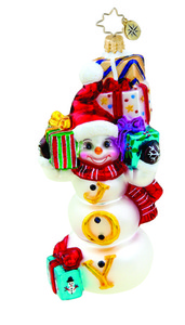 RADKO 1015457 GENEROUS JOY - SNOWMAN WITH GIFTS AND JOY ORNAMENT - NEW 2011 (11-11)