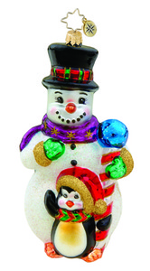RADKO 1015768 FROSTY FELLOWS - SNOWMAN AND PENGUIN ORNAMENT - NEW 2011 (11-11)