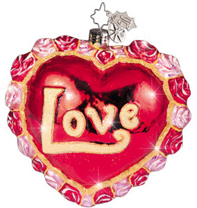 RADKO 1010707 FROM THE HEART - LOVE - VALENTINE HEART WITH RED AND PINK ROSES ORNAMENT - RETIRED (A1)