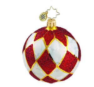 RADKO 1015884 HOLIDAY HARLEQUIN MINI - VINTAGE BALL AND DROP COLLECTION - BALL ORNAMENT - NEW 2011 (11-14)