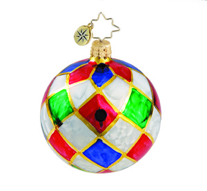 RADKO 1015887 HARLEQUIN BALL MINI - VINTAGE BALL AND DROP COLLECTION - BALL ORNAMENT - NEW 2011 (11-14)