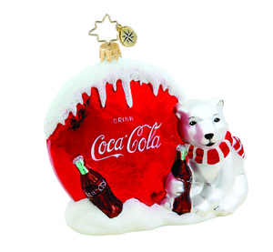 RADKO 1015666 REFRESHINGLY COOL - COCA COLA BUTTON SIGN & POLAR BEAR - NEW 2011 (11-15)
