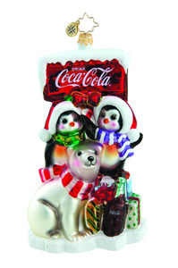 RADKO 1015665 BETTER ON ICE - COCA COLA SIGN WITH POLAR BEAR & PENGUINS - NEW 2011 (11-15)