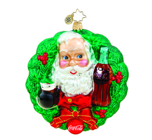 RADKO 1015667 HOLIDAY TOAST - SANTA WITH COCA COLA BOTTLE IN WREATH - NEW 2011 (11-15)