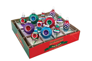 RADKO 4025104 SHINY BRITE - MINI JUBILANT JOLLY MIXED SHAPES - ASSORTMENT 12 - NEW FOR 2011