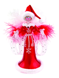 RADKO 1015861 LADY IN RED - FEATHERED WITH SANTA HAT ITALIAN ORNAMENT - NEW 2011 (11-13)