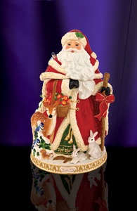RADKO 2011889 WINTER FOREST SANTA COOKIE JAR - SANTA WITH DEER & ANIMALS - FREE SHIPPING - NEW FOR 2011 - NOW RETIRED