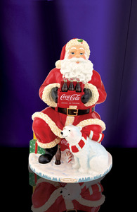 RADKO 2011892 COCA COLA SANTA COOKIE JAR - COKE - SANTA & POLAR BEAR - FREE SHIPPING - NEW 2011 - NOW RETIRED