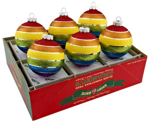 RADKO 4025302 SHINY BRITE - 6 COUNT RAINBOW GLITTER BALLS - ASSORTMENT 6 - NEW FOR 2011
