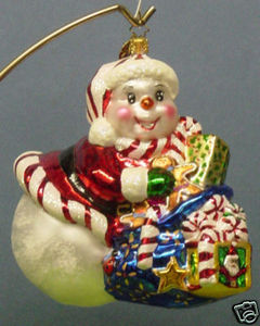 RADKO 1011354 SNOW TIME LIKE THE PRESENT - SNOWMAN - RETIRED ORNAMENT (OO)