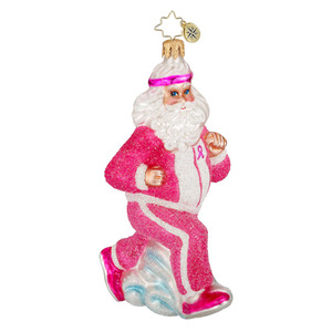 RADKO 1016216 PINK POWER WALK - BREAST CANCER AWARENESS - SANTA IN PINK JOGGING SUIT - NEW 2012 (12-1)