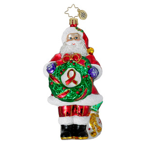 RADKO 1016213 CLAUS FOR A CAUSE - AIDS AWARENESS - SANTA WITH WREATH - NEW 2012 (12-1)
