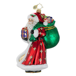 RADKO 1015951 JOYFUL BOUNTY - SANTA WITH BAG OF PRESENTS ORNAMENT - NEW 2012 (12-3)