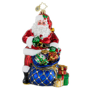 RADKO 1015957 TWINKLING TOTE - SANTA WITH SACK OF PRESENTS - JEWELED ORNAMENT - NEW 2012 (12-3)