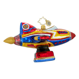 RADKO 1015958 BLAST OFF! - ROCKET SHIP - TOY ORNAMENT - NEW 2012 (12-3)
