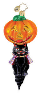 RADKO 1015059 HOOT N HOWL - HALLOWEEN - BLACK CAT & PUMPKIN - RETIRED ORNAMENT (H4)