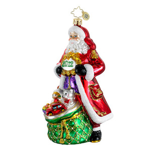 RADKO 1016243 WELL TIMED TIDINGS - DATED 2012 - SANTA WITH BAG OF GIFTS (12-2)