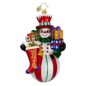 RADKO 1016153 RINGING IN THE CHEER - DATED 2012 - SNOWMAN WITH STOCKING & GIFTS (12-2)